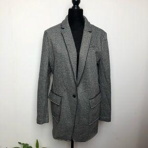 Banana Republic Raw Edge Long Wool Blazer Gray 16